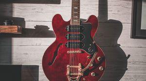 Preview wallpaper guitar, musical instrument, headphones, music