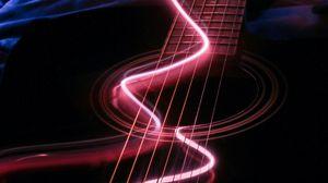 Preview wallpaper guitar, musical instrument, neon, backlight