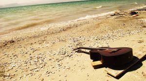 Preview wallpaper guitar, sea, beach, music