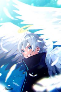 Preview wallpaper guy, angel, smile, halo, wings, anime