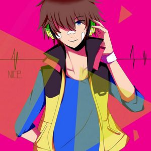 Preview wallpaper guy, anime, art, headphones, young, patch