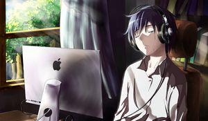 Preview wallpaper guy, anime, computer, tears, sadness, room