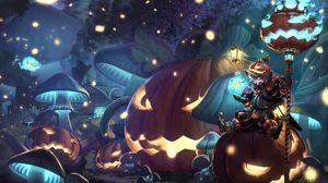 Preview wallpaper guy, armor, pumpkin, halloween, anime, art