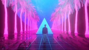 Preview wallpaper guy, art, palm, triangle, tile, imagination