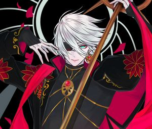 Preview wallpaper guy, bandage, staff, anime, art, red