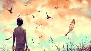 Preview wallpaper guy, birds, art, loneliness, solitude