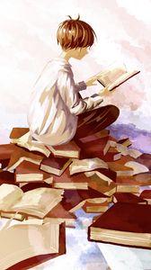 Preview wallpaper guy, books, reading, anime, art