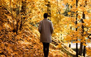 Preview wallpaper guy, coat, alone, park, trees, leaves, autumn