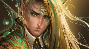 Preview wallpaper guy, elf, eyes, hair, sweat, drops