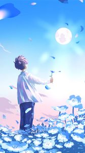 Preview wallpaper guy, flowers, field, anime, art, blue