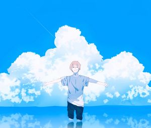 Preview wallpaper guy, gesture, clouds, water, freedom, anime, art
