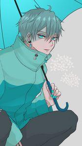 Preview wallpaper guy, jacket, umbrella, anime, art, blue