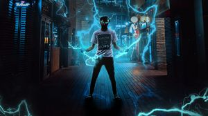 Preview wallpaper guy, lightning, electricity, voltage, superpower