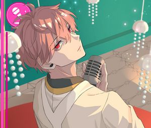 Preview wallpaper guy, microphone, singer, music, anime