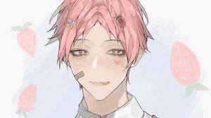 Preview wallpaper guy, milk, drink, smile, anime, art