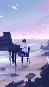 Preview wallpaper guy, musician, piano, birds, anime, art