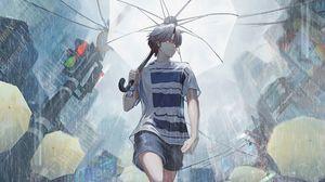 Preview wallpaper guy, rain, umbrella, street, anime