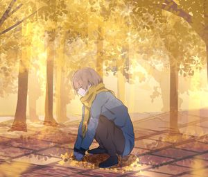 Preview wallpaper guy, scarf, leaves, trees, autumn, anime