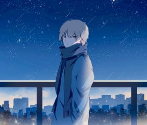 Preview wallpaper guy, scarf, starry sky, stars, night, anime