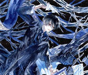 Preview wallpaper guy, scrolls, anime, art, blue