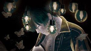 Preview wallpaper guy, skeleton, ghost, lamp, butterflies, anime