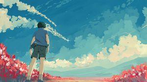 Preview wallpaper guy, sky, stars, art