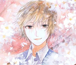 Preview wallpaper guy, smile, flowers, watercolor, anime, art