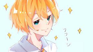 Preview wallpaper boy, smile, glance, anime, art, yellow
