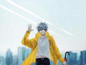 Preview wallpaper guy, smile, umbrella, anime