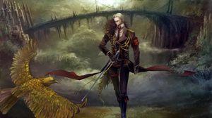 Preview wallpaper guy, sword, bird, road, bridge, castle