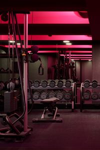 Preview wallpaper gym, dumbbells, inventory, mirror, lights