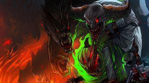 Preview wallpaper halloween, art, jason voorhees, werewolf