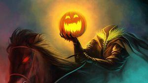 Preview wallpaper halloween, holiday, headless horseman, pumpkin, horse