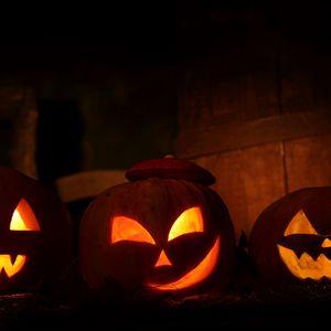 Preview wallpaper halloween, holiday, night, pumpkin, three