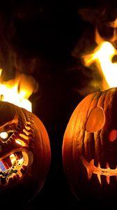 Preview wallpaper halloween, holiday, pumpkin, faces, steam, fire, black background