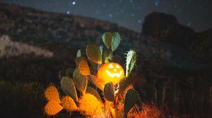 Preview wallpaper halloween, pumpkin, glow, cacti, night