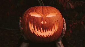 Preview wallpaper halloween, pumpkin, hands