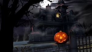 Preview wallpaper halloween, pumpkin, lantern, house, darkness, gloom