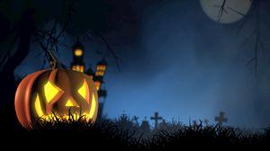 Preview wallpaper halloween, pumpkin, spooky, face, autumn