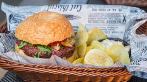 Preview wallpaper hamburger, burger, meat, appetizing
