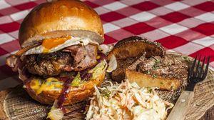 Preview wallpaper hamburger, burger, meat, vegetables