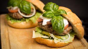 Preview wallpaper hamburger, meat, vegetables, bun, fast food
