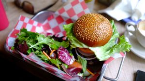 Preview wallpaper hamburger, vegetables, fast foods