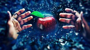 Preview wallpaper hand, apple, battle, background