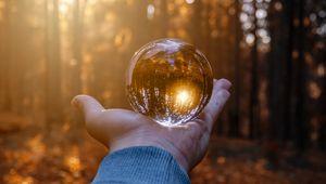 Preview wallpaper hand, ball, glass, reflection, autumn
