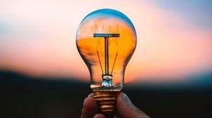 Preview wallpaper hand, bulb, light, blur, sky