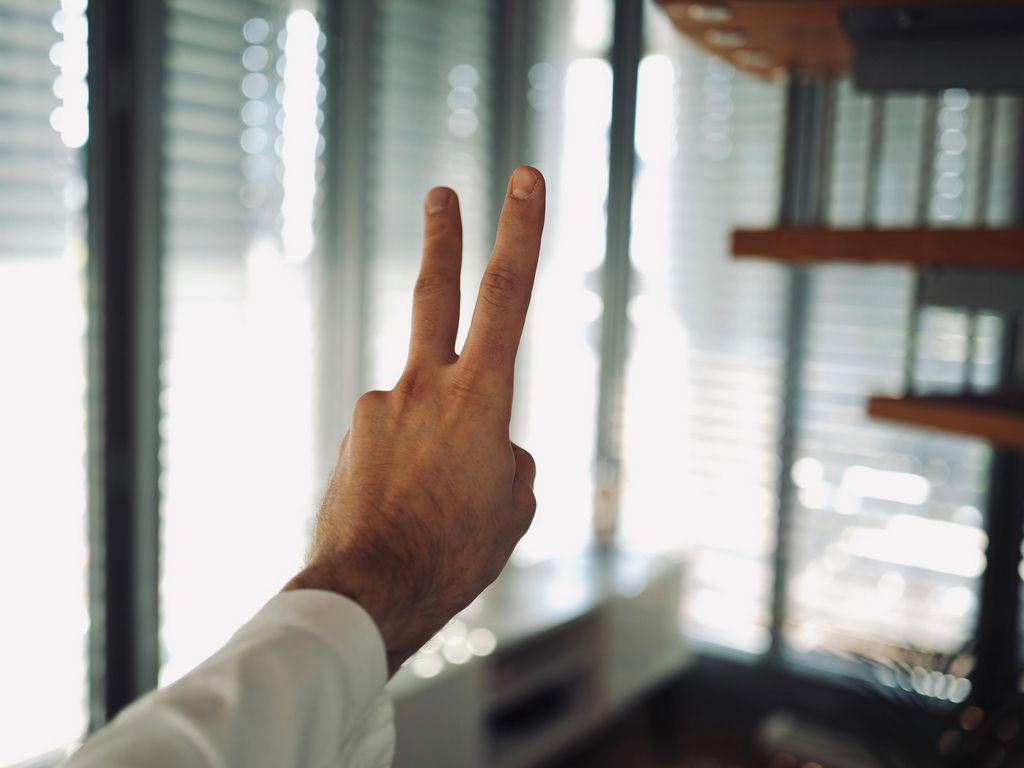 1024x768 Wallpaper hand, fingers, gesture, peace