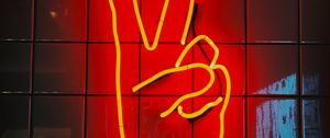 Preview wallpaper hand, gesture, peace, neon, sign, glow