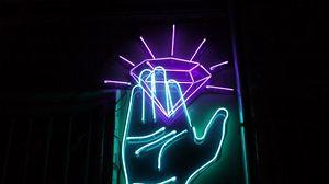 Preview wallpaper hand, neon, diamond, backlight