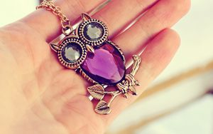 Preview wallpaper hand, owl, pendants, chain, jewelry